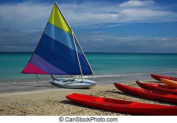 canotto, su, uno, spiaggia