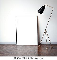 canovaccio., interpretazione, luminoso, vuoto, interno, bianco, 3d