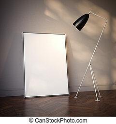 canovaccio., interpretazione, vuoto, interno, bianco, 3d
