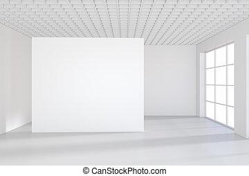 canovaccio., space.blank, moderno, galleria, interpretazione, esposizione, vuoto, bianco, vuoto, 3d