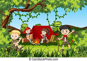 canping, forêt, enfants
