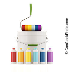 Cans and bottles with color paint and roller brus