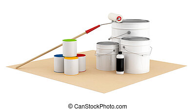 Cans and bucket with color paint and roller brush