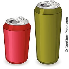 Cans - Red and green tin can.