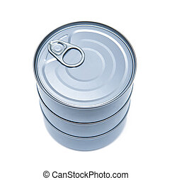 Cans isolated on the white backgrou