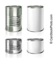 cans., metalen, vector, illustratie, tin