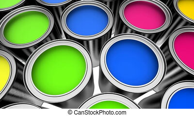 Cans of colorful paint