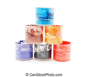 cans of paint on a white background