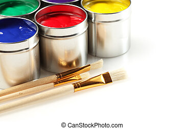 Cans of paint with paintbrushes