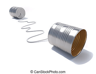 3d render illustration of a telephone made from tin cans