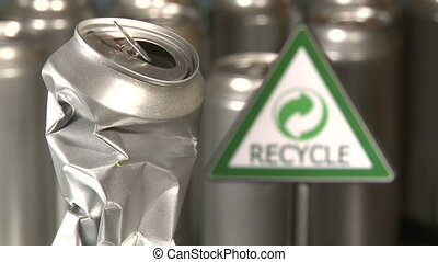Cans, Recycle - Aluminum cans factory, recycle sign, symbol