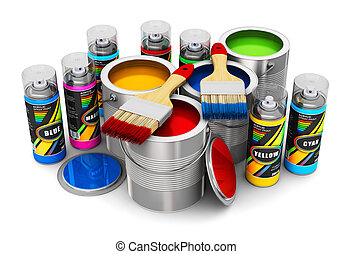 Cans with color paint, paintbrushes and spray paints