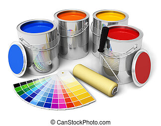 Cans with color paint, roller brush and color guide isolated...