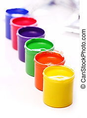 Cans with colorful paint