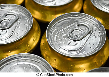Cans with water drops close-up