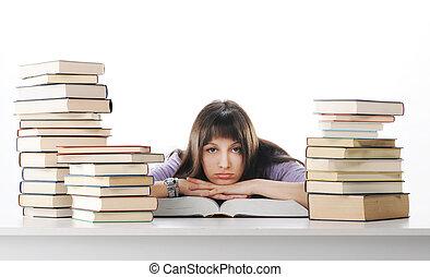 cansadas, de, estudos, mulher jovem, é, sentando, ligado,...