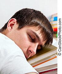 cansadas, estudante, dormir