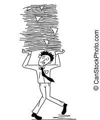 cansadas, homem, carregar, trabalho papel