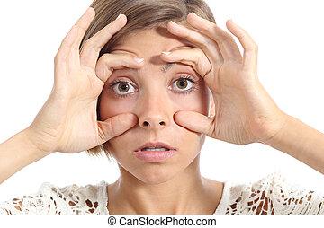 cansadas, mulher, abertura, dela, olhos, com, a, dedos