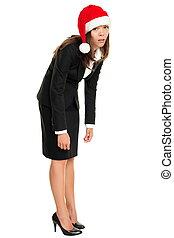 cansadas, mulher, santa, natal, desgastar, chapéu, negócio