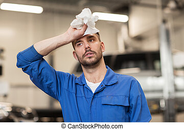 cansado, Automóvil, herrero, taller, mecánico, coche, o,...