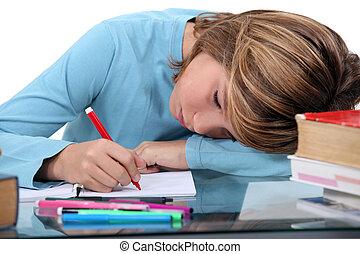 cansado, deberes, niño