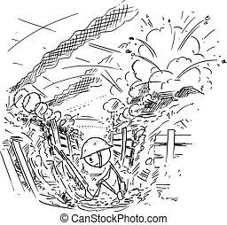 cansado, deprimido, mientras, guerra, caricatura, ilustración, trinchera, batalla, alrededor, vector, o, sentado, furioso, soldado