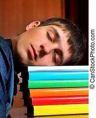cansado, estudiante, sueño