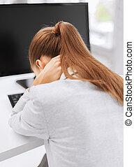 cansado, mulher computador