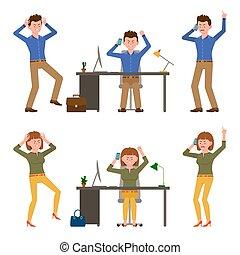 cansado, personagem, telefone, illustration., louco, zangado, caricatura, escritório, falando, menina, homem apontando, jogo, dedo, vetorial, shouting, desesperado, mulher, menino