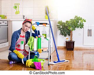cansado, y, infeliz, señora de la limpieza