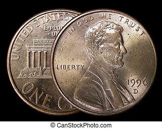 2 cents - macro closeup of 2 pennies