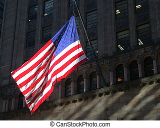 American Flag in NYC - Brightly lit American flag in New...