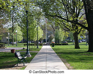 City Park Pathway - Springtime in a city park in Anytown,...