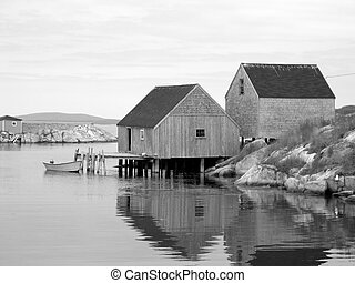 Old Fishing Shacks - This is a beautiful black and white...