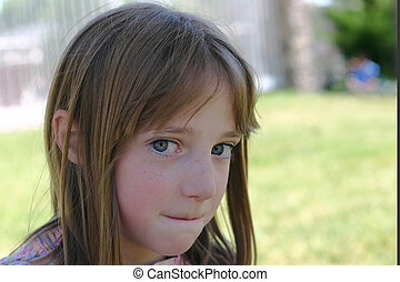 Young Girl - Young Gril with blue eyes with mischivious look...