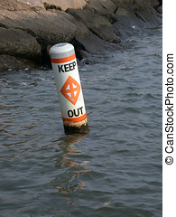 Danger, keep out - Boating buoy identifying unsafe waters -...
