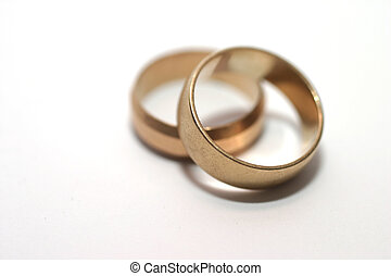 Wedding rings - Two gold wedding rings Shallow DOF with...