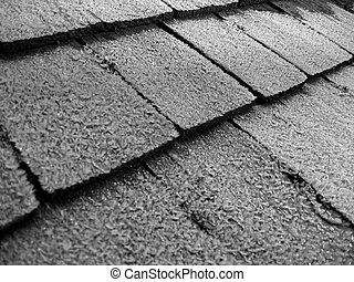 Frost on shingles - A Frosty, B&W picture of old shingles.