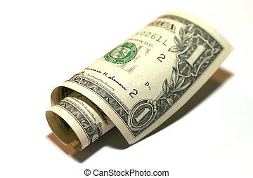 1 Dollar - Rolled 1 dollar bill