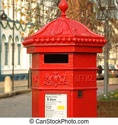 English Pillar Box - Post Box in english town