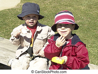 Children Eating Ice - Photo of 2 Children Eating Ice Cream