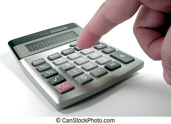 Calculations - A womans fingers operating a calculator