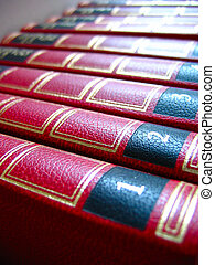Red books macro with leather cover