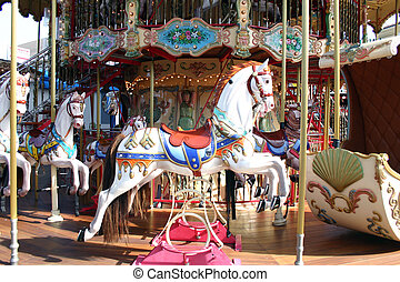 Carousel - A white horse on a carousel