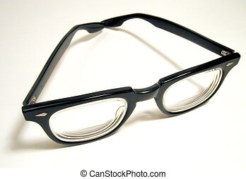 Geeky Glasses - A pair of bifocals with thick black plastic...