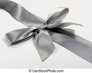 Gray Satin Bow - A silvery gray satin bow, used for wrapping...