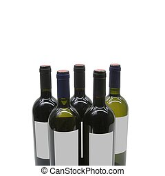 5 bottles of wine with generic lable on white background