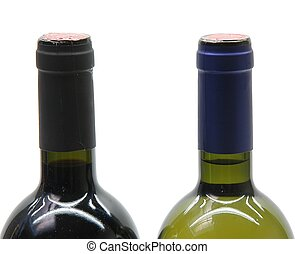2 bottles - 5 bottles of wine on white background (neck...