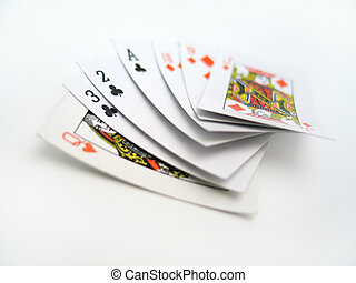 Set of Cards - A hand of cards on a white background.